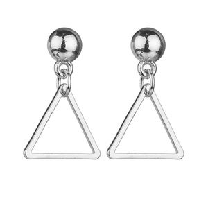 Silver Ball Studs w/Dangling Hollow Triangles